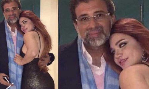 شاهد.. تسريب صورة ياسمين الخطيب بفستان مثير بين أحضان خالد يوسف
